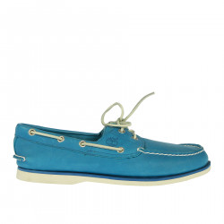 LIGHT BLUE MOCASSINO IN LEATHER