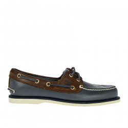 BLUE AND BROWN MOCASSINO IN LEATHER