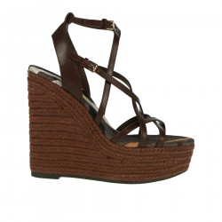 BROWN LEATHER WEDGES