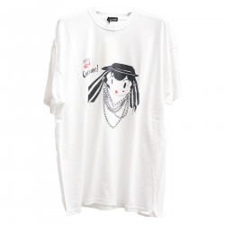 WHITE T SHIRT WITH DRAWING