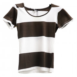 T SHIRT BIANCA E MARRONE A RIGHE