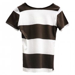 STRIPED WHITE AND BROWN T SHIRT