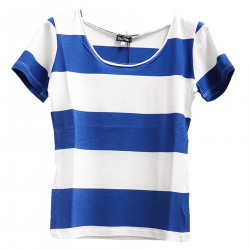 STRIPED WHITE AND BLUE T SHIRT
