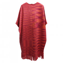 PINK CAPE WITH FRINGES