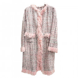 MULTICOLOR COAT WITH FRINGES
