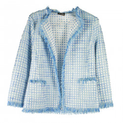 LIGHT BLUE JACKET WITH FRINGES
