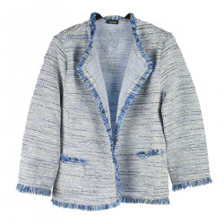 BLUE MELANGE JACKET WITH FRINGES