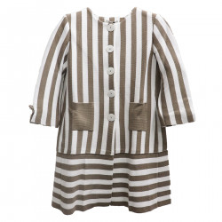 WHITE AND BEIGE STRIPED COAT