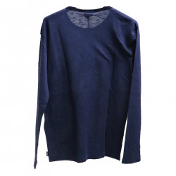 BLUE LINEN AND COTTON SWEATER