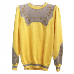 YELLOW AND GREY PULLOVER WITH STARS