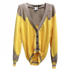 YELLOW AND GREY CARDIGAN WITH STARS