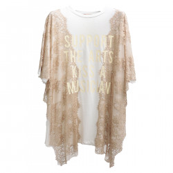 WHITE AND BEIGE TUNIC WITH WRITINGS