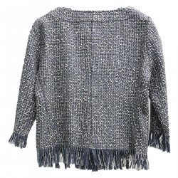 BLUE AND GREY JACKET WITH FRINGES