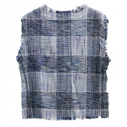 WHITE AND BLUE CHECKED VEST