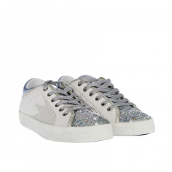 WHITE SNEAKER WITH SILVER SEQUINS