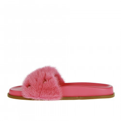 PINK SLIPPER WITH FUR INSERTS