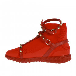 RED SNEAKER WITH GOLD STUDS