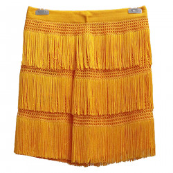 YELLOW SKIRT WITH FRINGES