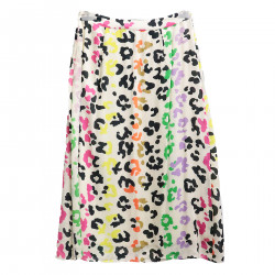 BEIGE SKIRT WITH MULTICOLOR FANTASY