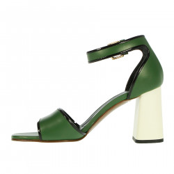 GREEN SANDAL IN LEATHER