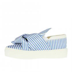 WHITE AND BLUE SLIP ON
