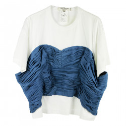 WHITE AND BLUE T SHIRT WITH POCKETS