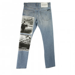 BLUE JEANS WITH PRINT