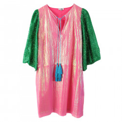 PINK AND GREEN DRESS WITH FRINGES