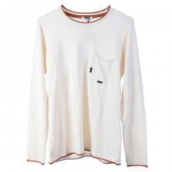 CREAM SWEATER WITH BREAST POCKET