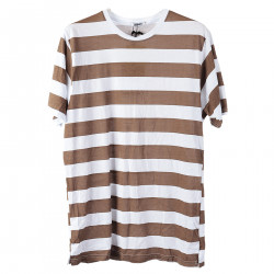 STRIPED BROWN AND WHITE T SHIRT
