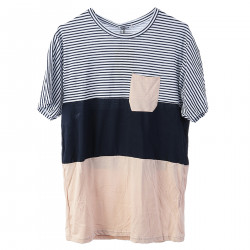 STRIPED T SHIRT WITH BREAST POCKET
