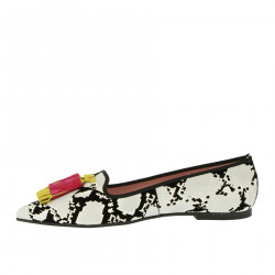 FLOCKY BLACK AND WHITE FLAT SHOE