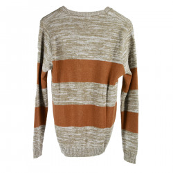 STRIPED BEIGE AND BROWN SWEATER