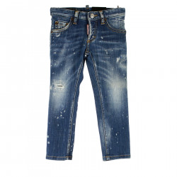 BLUE JEANS WITH SLASHED EFFECT
