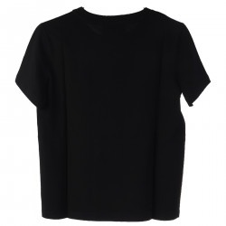 BLACK T SHIRT WITH MULTICOLOR PRINT