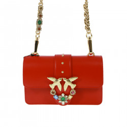 RED BAG WITH STRASS ON THE LOGO
