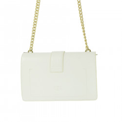 WHITE SHOULDER BAG WITH PEARLS
