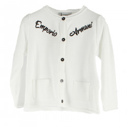 WHITE CARDIGAN WITH WRITTING
