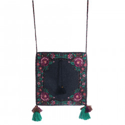 BLACK AND FLOWER SHOULDER BAG