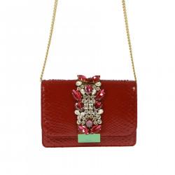 RED JEWEL CLUTCH BAG