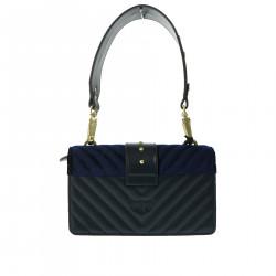 BLUE VELVET AND LEATHER BAG