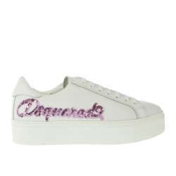 WHITE SNEAKERS WITH PINK WRITING