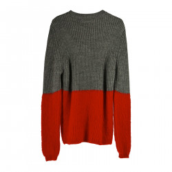 GREY AND RED SWEATER