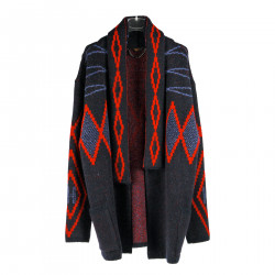 BLUE AND RED CARDIGAN