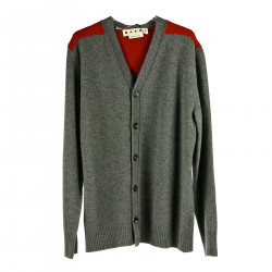GREY AND RED CARDIGAN