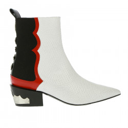 WHITE RED AND BLACK BOOT