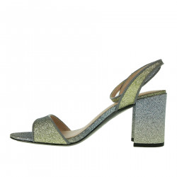 SILVER AND GREEN SANDAL