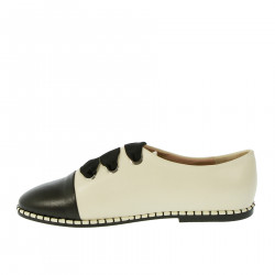 BLACK AND BEIGE LACE UP SHOE