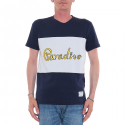 BLUE AND WHITE T SHIRT WITH WRITTING