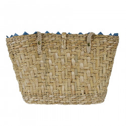 STRAW BAG WITH STONES AND FRINGES